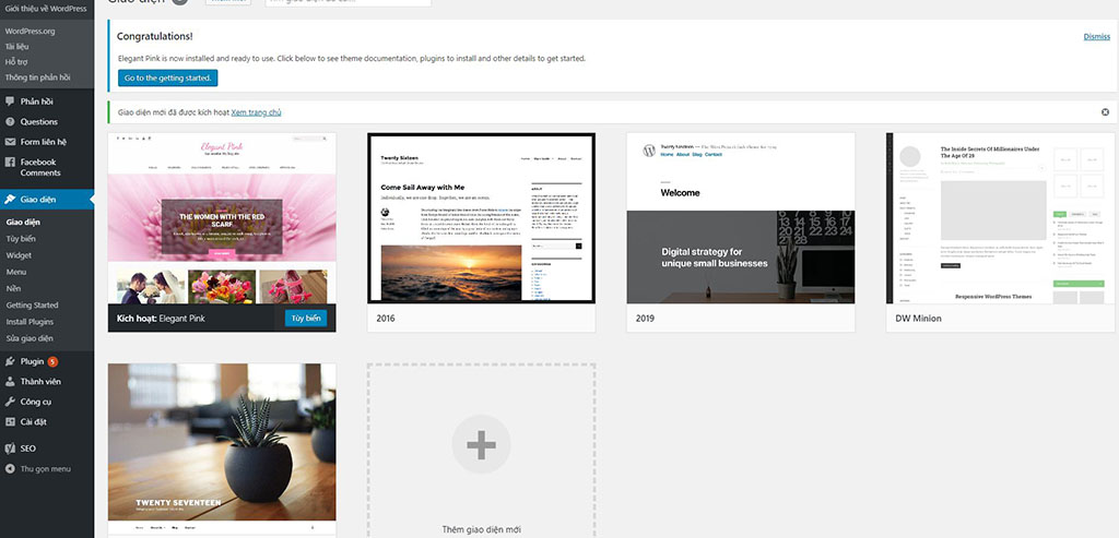 Cài giao diện web wordpress