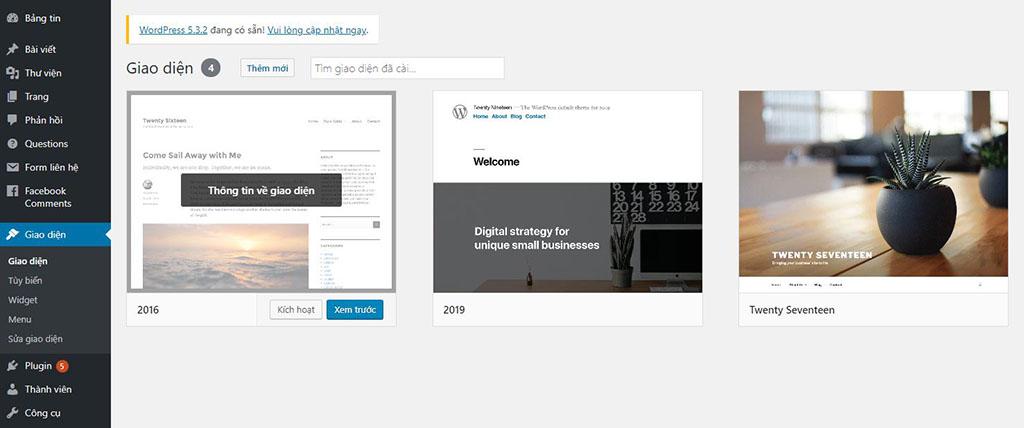 Quản lý giao diện wordpress