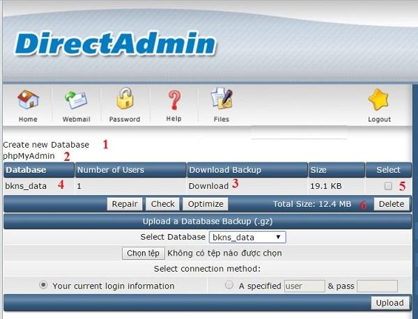 Thực hiện theo các bước trong hình để tạo và quản lý database