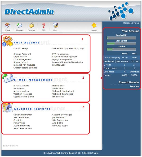 Giao diện của Direct Admin