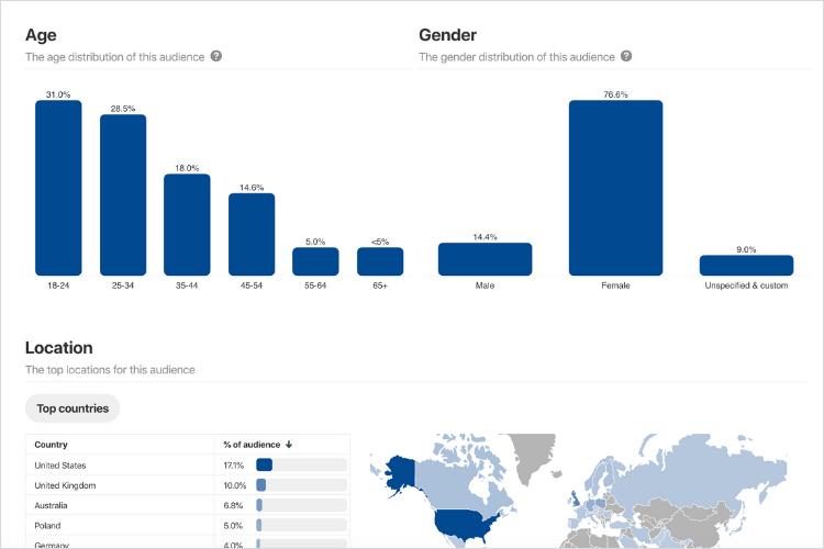 Thông tin chi tiết về đối tượng của Pinterest Analytics