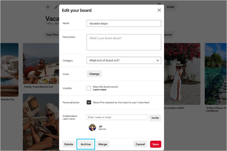 Làm thế nào để lưu trữ một bảng trên Pinterest